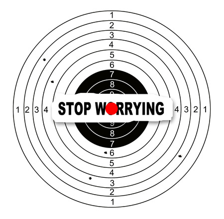 worrying: Shooting target with word stop worrying made in 2d software Stock Photo