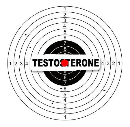 shooting target: Schieten doel met woord testosteron in 2d software Stockfoto