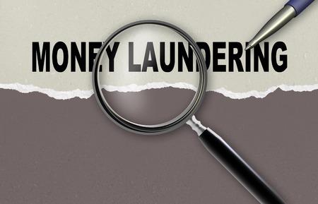 money laundering: Parola riciclaggio di denaro e lente di ingrandimento con la matita