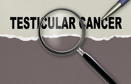 testicular cancer: word TESTICULAR CANCER and magnifying glass with pencil