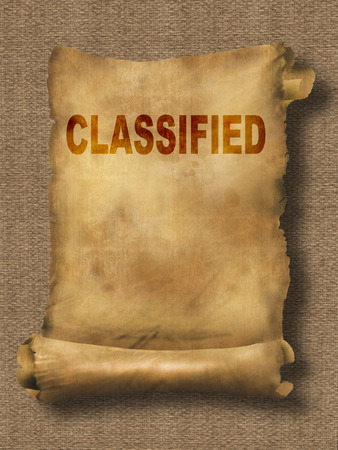 classified: word classified on paper scroll made in 2d software