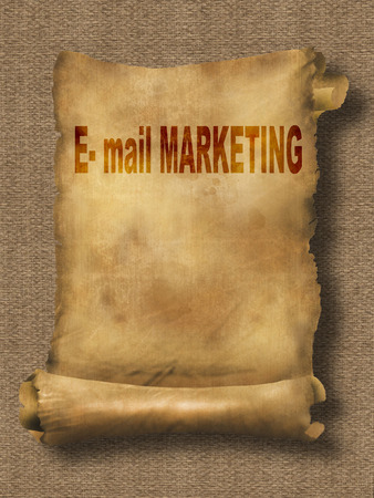 grungy email: word e-mail marketing on paper scroll made in 2d software Stock Photo