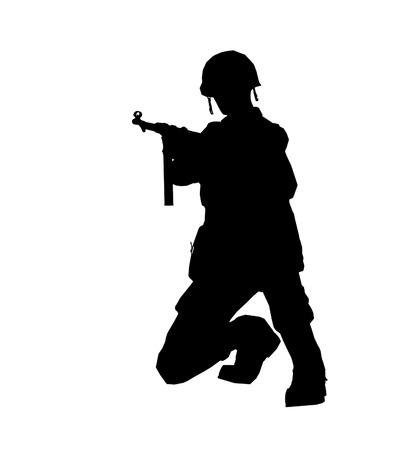 silhouette soldat: Soldier silhouette avec un casque fait dans le logiciel 3d