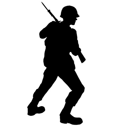 bayonet: soldier with bayonet made in 3d software Stock Photo