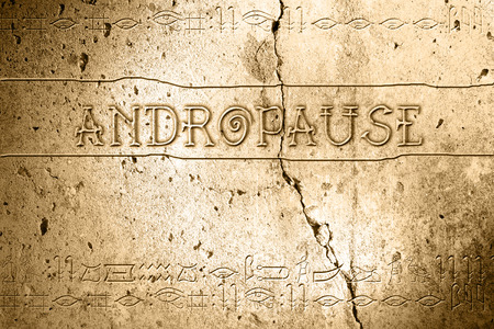 word andropause on wall with egyptian alphabet made in 2d software Stock fotó