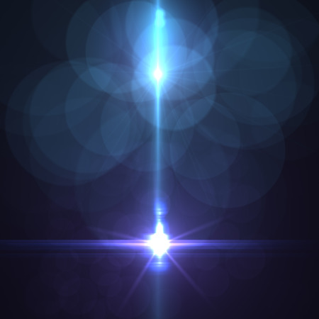 star with lens flare and bokeh effect made in 3d software 写真素材