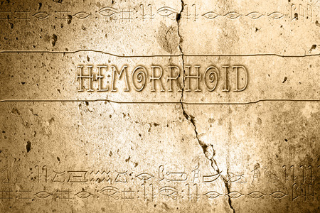 hemorrhoid: word hemorrhoid on wall with egyptian alphabet made in 2d software