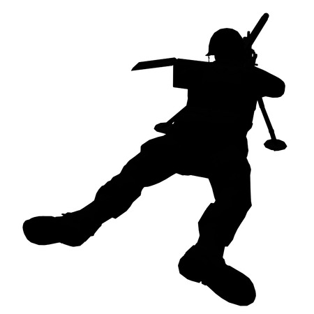 silhouette soldat: Soldier silhouette � la carabine fait dans le logiciel 3d