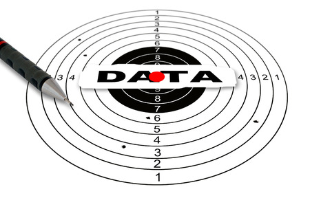 reach out: Shooting target with word data made in 2d software