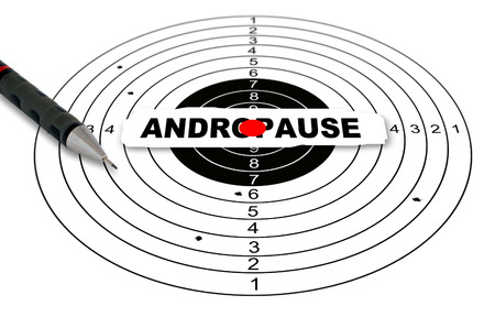andropause: Shooting target with word andropause made in 2d software