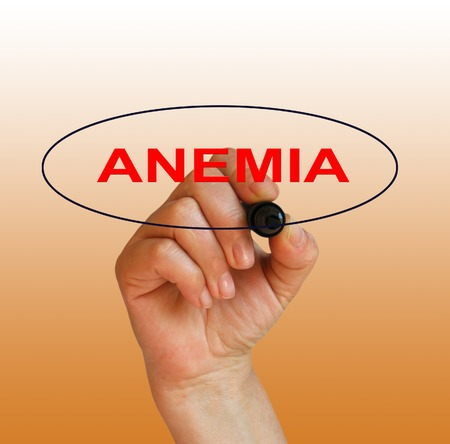 anemia: writing word anemia with marker on gradient background made in 2d software
