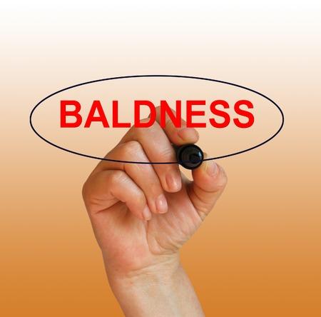 calvitie: �crit mot calvitie avec le marqueur sur fond gradient fait dans le logiciel 2d