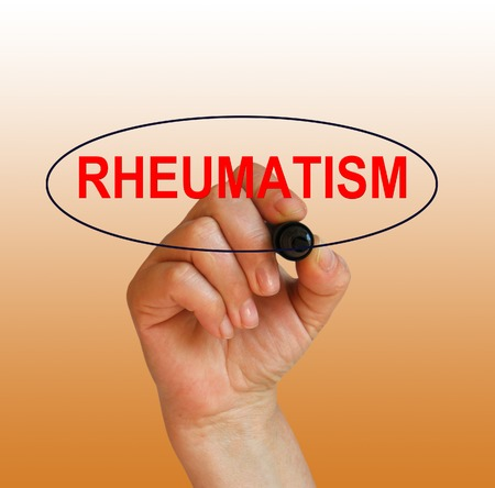 rheumatism: writing word rheumatism with marker on gradient background made in 2d software