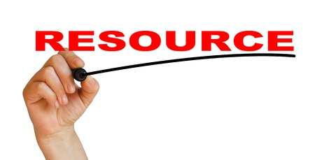 resourse: Hand underlining resourse with red marker Stock Photo