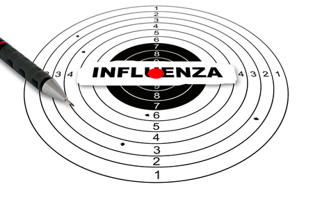 reach out: Shooting target with word influenza made in 2d software Stock Photo