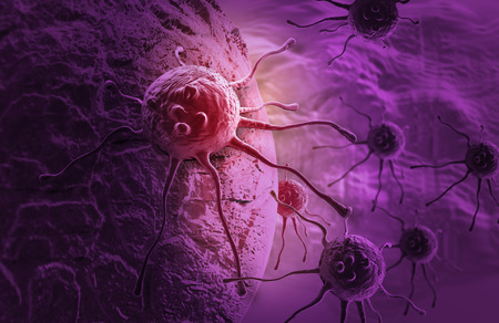 biology cell: cancer cell made in 3d software Stock Photo