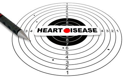 Herzkrankheit: Schie�enziel mit Wort Herzerkrankungen bei 2d-Software gemacht