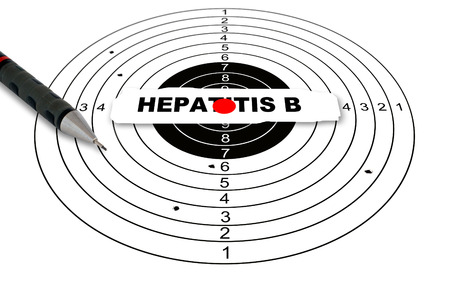 hepatitis b: Shooting target with word hepatitis b made in 2d software