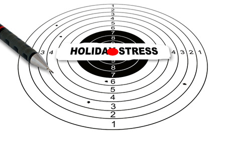 holiday stress: Shooting target with word HOLIDAY STRESS made in 2d software