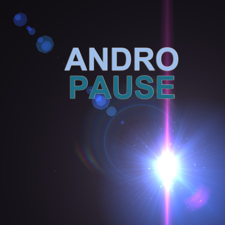 andropause: word andropause on optical flares  background