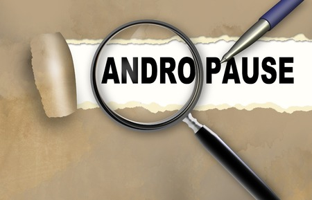 andropause: word andropause and magnifying glass with pencil made in 2d software