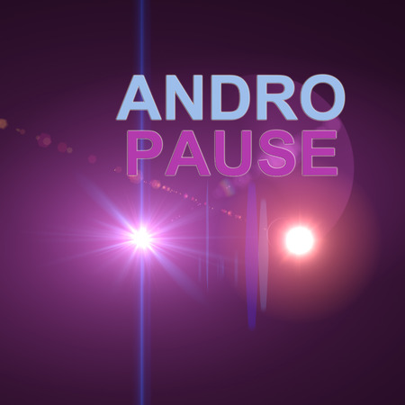 hormone  male: word andropause on optical flares  background