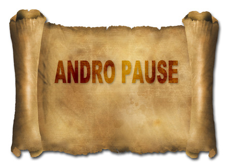 andropause: word andropause on paper scroll made in 2d software