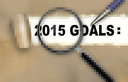 attain: Close-up of word  2015 GOALS with pen on it