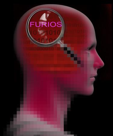 cognicion: el perfil de un hombre con cierre para arriba de la lupa en FURIOSS hecha en 3D Foto de archivo