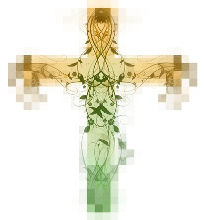 bevel: Green Floral Cross made with bevel and  emboss effect