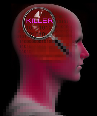 stimulated: profile of a man with close up of magnifying glass on KILLER   made in 3d software