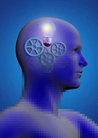 stimulated: profile of a man with gears and a light bulb inside his head