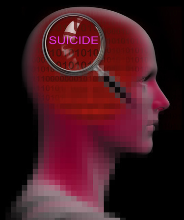 stimulated: profile of a man with close up of magnifying glass on SUICIDE  made in 3d software Stock Photo