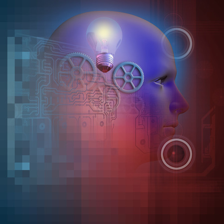 technology background in blue end red and profile of a man with gears and a light bulb  made in3d software
