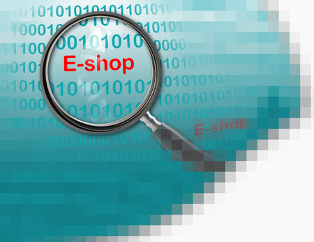 eshop: Close up of magnifying glass on E-shop  made in 2d software Stock Photo