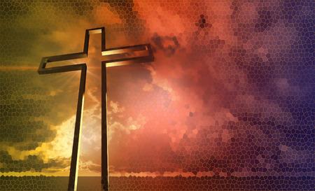 religion catolica: Cruz de madera hecha en 3D Foto de archivo