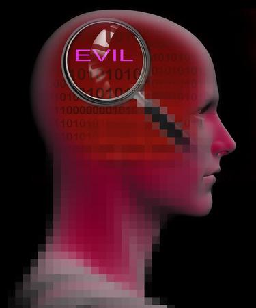 cognicion: Perfil de un hombre con cerca de la lupa sobre EVIL hecha en 3D Foto de archivo