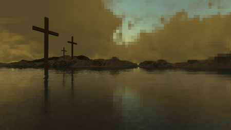 religious life: three crosses made in 3d software Stock Photo