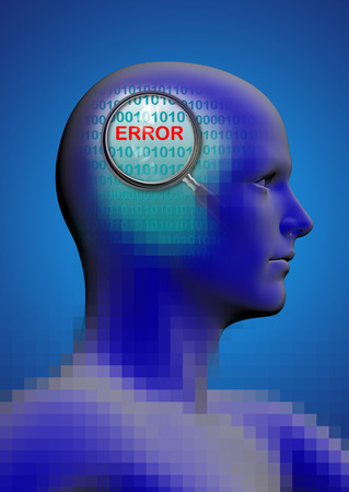 cognition: profile of a man with close up of magnifying glass on error   made in 2d software