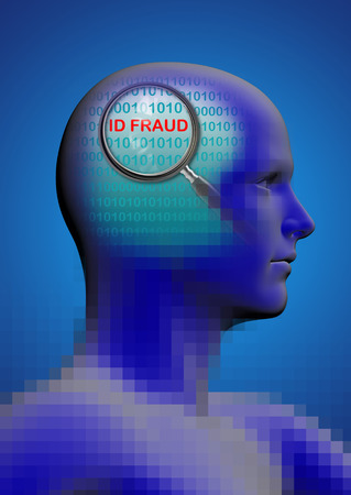 stimulated: profile of a man with close up of magnifying glass on ID fraud  made in 2d software