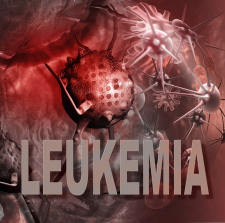 leukemia: leukemia cells and words  made in 3d software Stock Photo