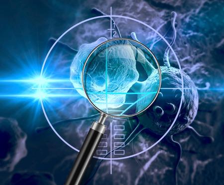 investigando: c?lula cancerosa hecha en 3D Foto de archivo