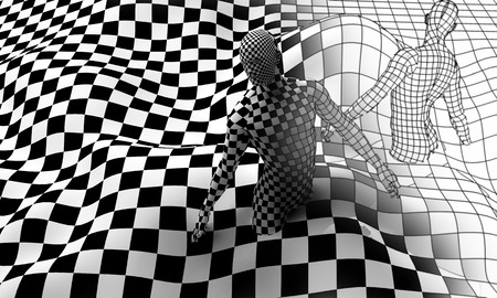 Checkered composition with Black end White checkered people made in 3d Stock Photo