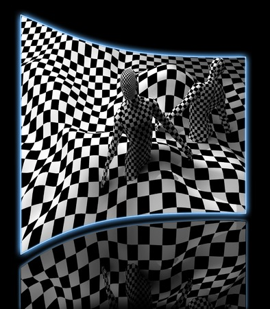 black people: Checkered composition with Black end White checkered people made in 3d Stock Photo