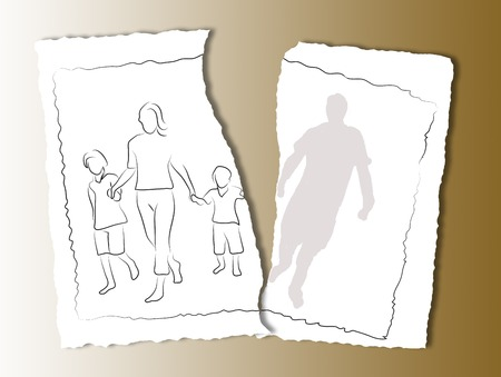 torn paper background: family on a white torn paper  background