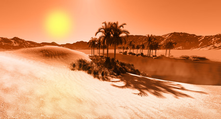 oasis: Oasis in the desert made in 3d software Stock Photo