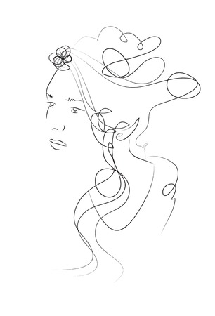 wavy hair: Fashion beautiful woman with long wavy hair