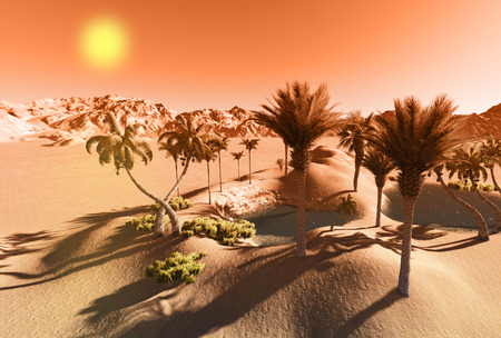 an oasis: Oasis in the desert made in 3d software Stock Photo