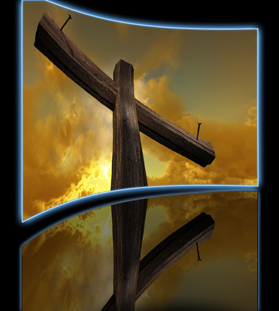 wooden cross: Wooden cross against the sky with shining rays Stock Photo