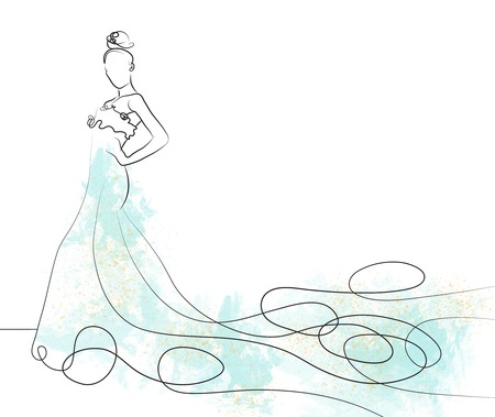 blue dress: sketch of beautiful young bride in light blue  dress